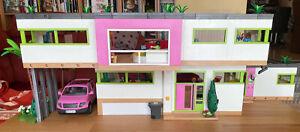 Playmobil Luxusvilla 5574 mit Pool 5575 und Erweiterungen, viel Zubehör
