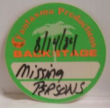 MISSING PERSONS - ORIGINAL CONCERT TOUR CLOTH BACKSTAGE PASS ***LAST ONE***