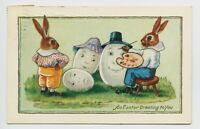 SCARCE WHITNEY EASTER POSTCARD - DRESSED HUMANIZED RABBITS PAINTING HAPPY EGGS