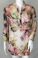 Susan Graver Printed Sheer Chiffon 3/4 Sleeve Y-Neck Blouse Smocked Bottom Sz M