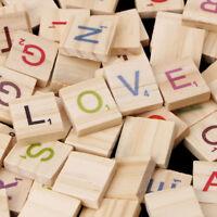 100pcs Wooden Scrabble Tiles Black Letters Numbers for Crafts Wood Alphabets UK