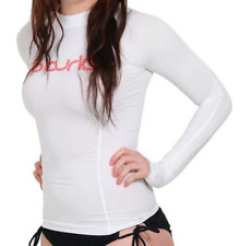 NEW Women's RIP CURL SURF TEAM Long Sleeve UV RASHGUARD - White Pink - XS
