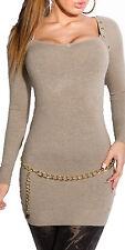 Damen Pullover Pulli Sweater Nieten Minikleid Strickkleid Pullikleid S 34 36