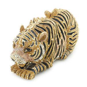 Gold Tiger Rhinestone Evening Bag Party Clutch Crystal Handbag Womens Purse