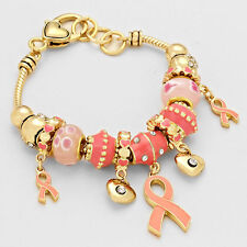 Pink Ribbon Beaded Charm Bracelet Faith Strong GOLD Cancer Awareness Jewelry