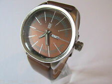 MENS FENCHURCH WATCH LARGE OVAL BROWN DIAL DATE WINDOW BROWN LEATHER STRAP