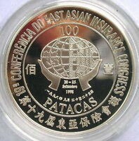 Macao 1998 Insurance 100 Patacas Silver Coin,Proof
