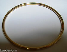 9ct yellow gold 3mm wide Hollow GOLF bangle 68mm diameter * FREE EXPRESS POST OZ