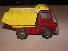VINTAGE  TOY TRUCK 1968  MARX  RED  & YELLOW METAL DUMP TRUCK