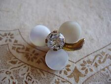 Vintage Brooch Lapel Pin gold tone MOP Mother of Pearl flower clover Rhinestone