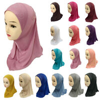 Muslim One Piece Children Hot Drilling Pearl Floral Bead Hijab Islamic Scarf Cap