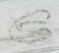 Vintage Italy Sterling Silver 925 Twisted Chain Link Bracelet 2.3mm Luxury  7""