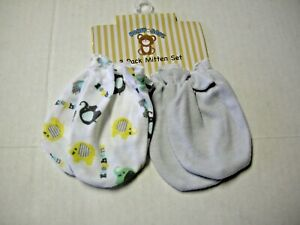 Scratch Mittens, Boy, 2 Pack, Solid Gray & Elephants, 0-6 Mos, Brand New