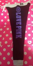 New Victoria's Secret Pink Black Gray Purple Logo Campus Leggings  Sz Large