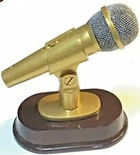 Microphone Trophy Or Statue Gold Painted Pewter Finish Scholastic Promotions