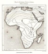 Isotérmico líneas de África. bosquejo mapa 1885 Viejo Antiguo Vintage Cuadro De Plan