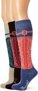 Wrangler Womens Boot Knee High Tall Cowgirl Western Pattern Long Socks 3 PK