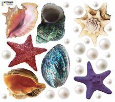 Aufkleber Sticker Wandaufkleber Wandsticker  Muscheln Shell Groß Bunt See Bad WC