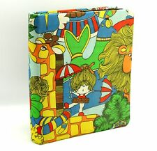 1960s Mod Vintage Little Lovables Circus Fabric Cover 3 Ring Photo Album Binder