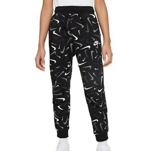 Nike Boys Sportswear Club French Terry printed Joggers in Black/White, Different