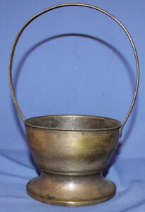 Antique Art Deco silver plated basket with markings