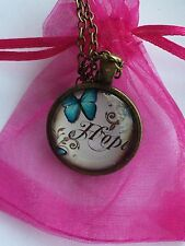 Hope Butterfly Vintage Style Glass Cabochon Dome Necklace. Hand Made Gift Idea