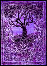Púrpura Negro celta árbol Colcha Cama Sofá Cobertor extendido Tapiz Dormitorio Pared Arte