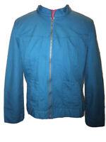 Women's Blazer Light Jacket Zip Up MEDIUM 100% Cotton Turquoise Ocean Blue