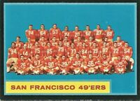 1962 Topps Football Card #163 San Francisco 49ers Team VG
