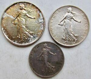 France 3 Silver Coins 1919 Franc, 1918 2 Francs, 1964 5 Francs