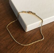 """14K Solid Yellow Gold 1mm Rope Chain Bracelet 7 1/4"""" No Scrap"""