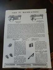 Vintage 1959 Sako Mauser Actions Firearms Firearms International Corp. Flyer