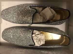 Mens Glitter Smart Shoes PartySlip-On Leather Loafers