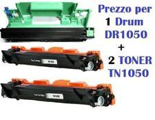 2 TONER PER BROTHER TN1050+ 1 DRM DR-1050 PER HL-1110 HL-1112 DCP-1610W 1612W...