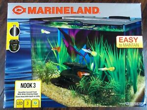 MARINELAND NOOK 3 CURVED FRONT WIDE VIEWING ANGLE 3 GALLON AQUARIUM BUILT IN LED
