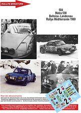 Decals 1/24 réf  584 Matra 530 Beltoise- Landereau Rallye Méditerranée 1969