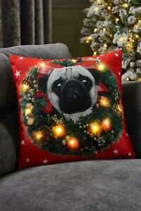 JOLLY PUG DOG DESIGN WHICH LIGHTS UP WITH LED 43 X 43CM CUSHION RED CHRISTMAS