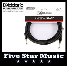 D'ADDARIO PLANET WAVES AMERICAN STAGE SERIES GUITAR CABLE 20' PW-AMSG-20 NEW