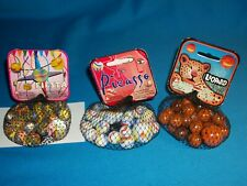 """MINT - GLASS MARBLES BY """"MEGA MARBLES - UNUSUAL COLORS - 3 BAGS -LOT"""
