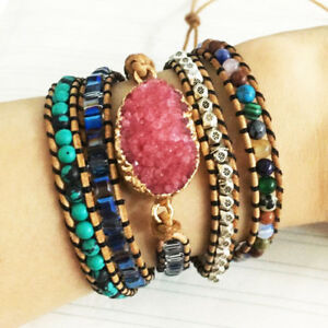 Leather Unique Natural Stones Gilded Druzy Charm 5 Strands Wrap Bracelets