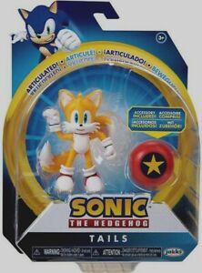 "NIB Jakks Sonic The Hedgehog Modern Tails with Star Spring Action Figure 4"" Toy"
