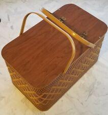 Vintage Wicker & Metal handled Picnic~Picknick~Piknik BASKET 1960s with Shelf