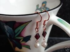 Pair of Rose Gold Plated Garnet & Freshwater Pearl Drop Earrings Shepherds Hook