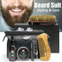 7Pcs Beard Care Kit Tool Set Grooming Balm Oil Mustache Products Supplies Travel