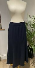 Viyella Navy Lined Mid Length Panel Skirt with Knee Vent, UK 12