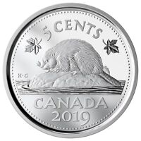 CANADA 2019 5 CENTS 99.99% PROOF SILVER NICKEL HEAVY CAMEO COIN
