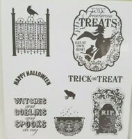 Stampin Up Toxic Treats rubber cling stamps Halloween witch cauldron trick