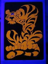 Vintage 1971 Psychedelic TIGER Blacklight Poster Art by DAVE HIGH 35x23 NOS