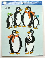 """Vintage Handpainted Decals by Decorcal 8"""" X 6.5"""" Penguins- New-Last One!"""