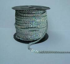 6mm Wide By the Yard Strung Flat Sequins Silver Holographic Metallic Bling Trim